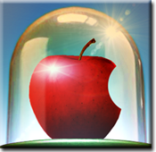 Apple under bell jar